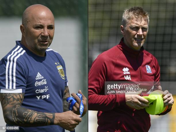 This combination of pictures created on June 14 2018 shows Argentina's coach Jorge Sampaoli at the team's base camp in Bronnitsy near Moscow on June...