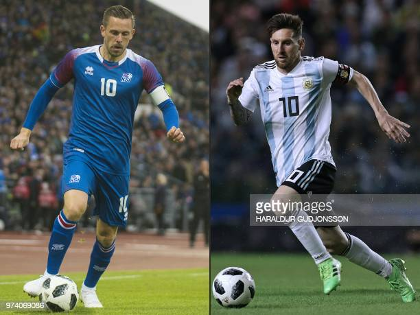 This combination of pictures created on June 14 2018 shows Iceland's midfielder Gylfi Sigurdsson in Reykjavik on June 7 and Argentina's Lionel Messi...