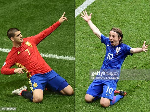 This combination of pictures created on June 18 2016 shows Spain's forward Alvaro Morata celebrating during the Euro 2016 group D football match...