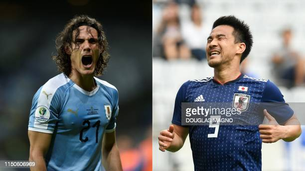 This combination of pictures created on June 18 2019 shows Uruguay's Edinson Cavani celebrating after scoring against Ecuador during their Copa...
