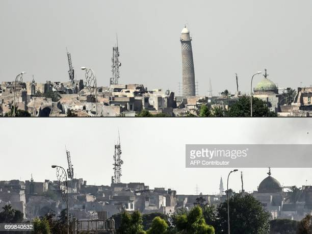 TOPSHOT This combination of pictures created on June 22 2017 shows a picture taken on June 20 of Mosul's leaning AlHadba minaret and a picture taken...