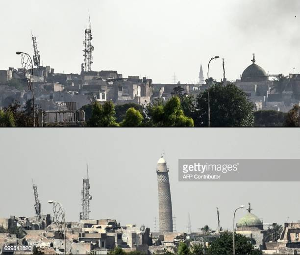 This combination of pictures created on June 22, 2017 shows a picture taken on June 20 of Mosul's leaning Al-Hadba minaret and a picture taken on...