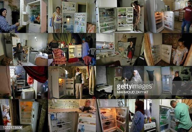 TOPSHOT This combination of pictures created on June 22 2020 shows Lebanese citizens across the country displaying the content of their refrigerators...