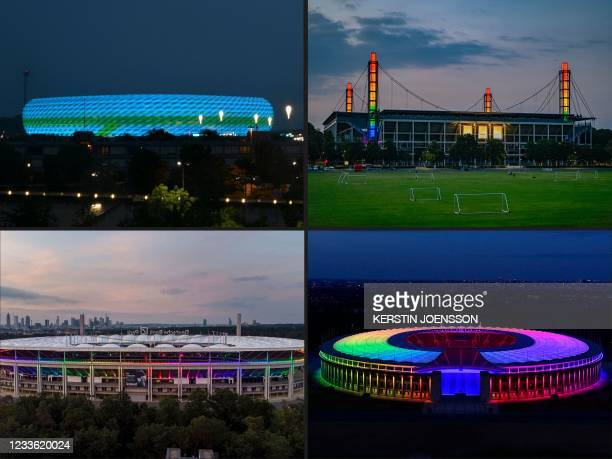 This combination of pictures created on June 23, 2021 shows an overview picture of the Allianz Arena stadium illuminated with blue and green colours...