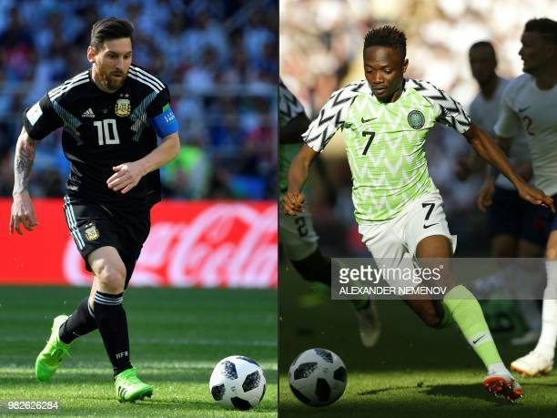 This combination of pictures created on June 24 2018 shows Argentina's forward Lionel Messi in Moscow on June 16 and Nigeria's striker Ahmed Musa in...