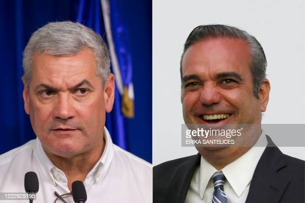 This combination of pictures created on June 25, 2020 shows the then Dominican Republic's Minister of Public Works, now presidential candidate for...