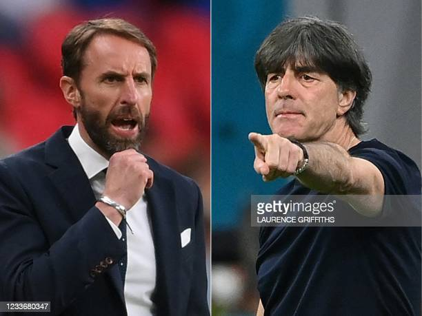 This combination of pictures created on June 27 shows England's coach Gareth Southgate in London on June 22, 2021; Germany's coach Joachim Loew in...