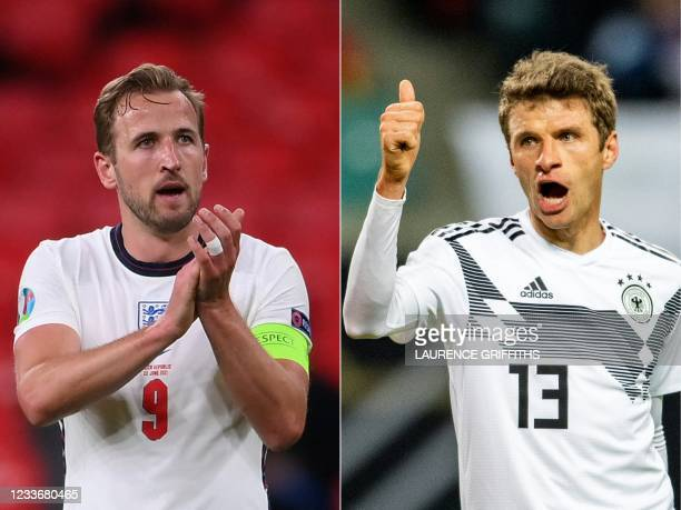 This combination of pictures created on June 27 shows England's forward Harry Kane in London on June 22, 2021; and Germany's forward Thomas Mueller...