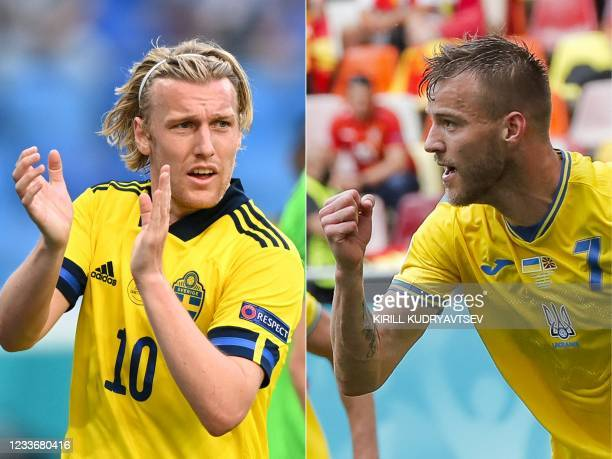 This combination of pictures created on June 27 shows Sweden's midfielder Emil Forsberg in Saint Petersburg on June 23, 2021; and Ukraine's forward...