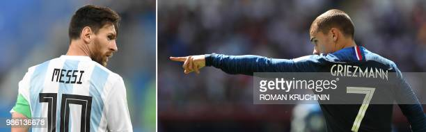 This combination of pictures created on June 28 2018 shows Argentina's forward Lionel Messi in Saint Petersburg on June 26 2018 and France's forward...
