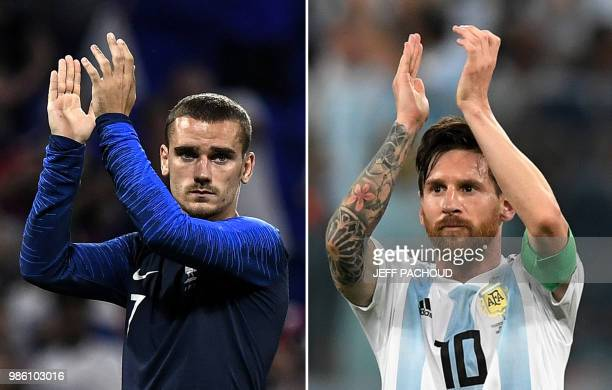 This combination of pictures created on June 28 2018 shows France's forward Antoine Griezmann in DecinesCharpieu near Lyon on June 9 2018 and...