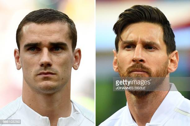 This combination of pictures created on June 28 2018 shows France's forward Antoine Griezmann in Moscow on June 26 2018 and Argentina's forward...