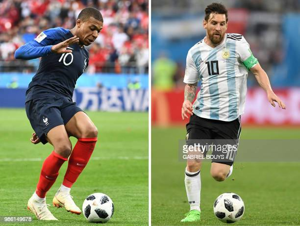 This combination of pictures created on June 28 2018 shows France's forward Kylian Mbappe in Ekaterinburg on June 21 2018 and Argentina's forward...