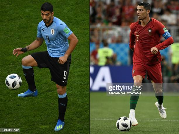 This combination of pictures created on June 28 2018 shows Uruguay's forward Luis Suarez in Samara on June 25 and Portugal's forward Cristiano...