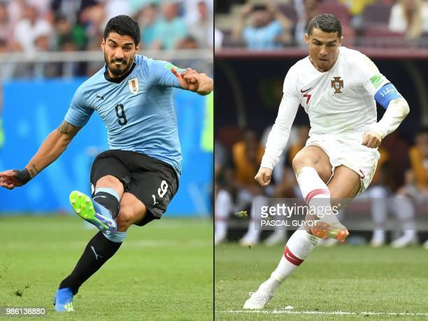 This combination of pictures created on June 28 2018 shows Uruguay's forward Luis Suarez in RostovOnDon on June 20 and Portugal's forward Cristiano...