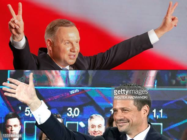 This combination of pictures created on June 28 2020 shows Polish President Andrzej Duda flashing Vsigns after addressing supporters as exit poll...