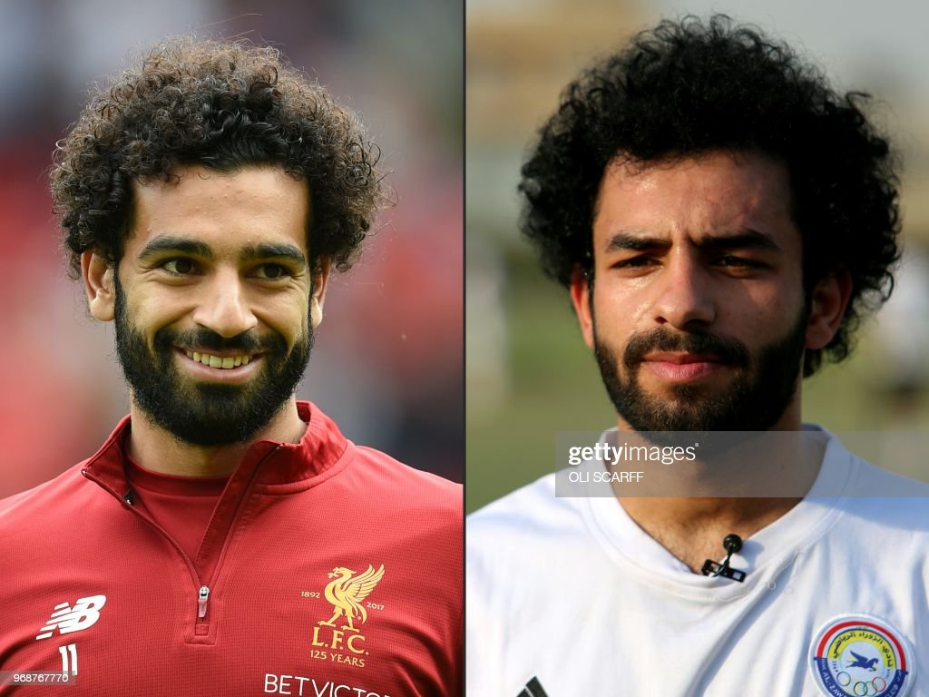 TOPSHOT - (COMBO) This combination of pictures created on June 7, 2018 shows (L) Liverpool's Egyptian midfielder Mohamed Salah smiling during warm up ahead of the English Premier League football match between Liverpool and Crystal Palace at Anfield in Liverpool, north west England on August 19, 2017, and (R) Iraqi footballer Hussein Ali, who plays for the Iraqi Al-Zawraa FC and is a lookalike of Liverpool's Egyptian forward Mohamed Salah, training with his team in the capital Baghdad, on June 3, 2018. (Photos by Oli SCARFF and SABAH ARAR / AFP) / RESTRICTED TO EDITORIAL USE. No use with unauthorized audio, video, data, fixture lists, club/league logos or 'live' services. Online in-match use limited to 75 images, no video emulation. No use in betting, games or single club/league/player publications. / TO