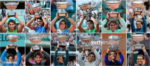This combination of pictures created on June 9, 2019 shows Spain's Rafael Nadal posing with the Mousquetaires Cup during his twelve victories in the...