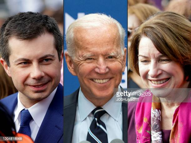 This combination of pictures created on March 02 2020 shows Democratic presidential candidate former South Bend Mayor Pete Buttigieg before marching...