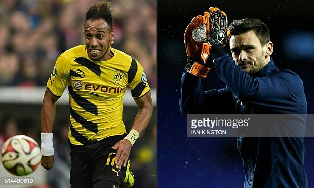 This combination of pictures created on March 09 2016 shows file photo of German first division football team Dortmund's Gabonese striker...