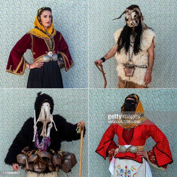 This combination of pictures created on March 11 2019 shows a woman dressed in a ''Koumiotisa'' costume posing for a portrait during the Skyrian...