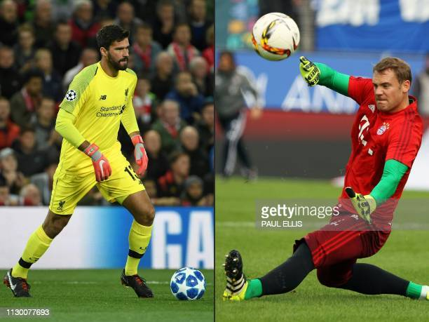 This combination of pictures created on March 11 2019 shows Liverpool's Brazilian goalkeeper Alisson Becker controling the ball during the UEFA...