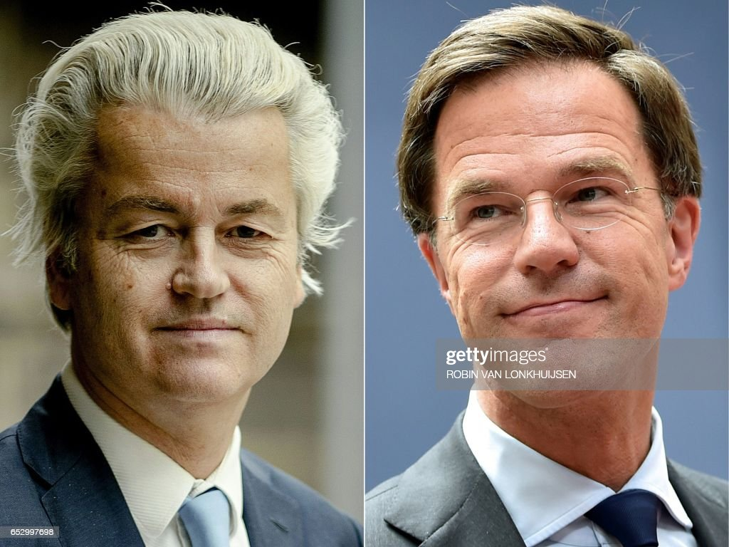 This combination of pictures created on March 13, 2017 shows Dutch politician Geert Wilders (L), leader of the Freedom Party (PVV), posing for a portrait in The Hague on March 2, 2017, and Netherland's Prime minister and People's Party for Freedom and Democracy leader Mark Rutte arriving before an EU summit meeting on June 28, 2016 at the European Union headquarters in Brussels. The general election of The Netherlands is going to take place on March 15, 2017. / AFP PHOTO / ANP AND AFP PHOTO / Robin van Lonkhuijsen AND