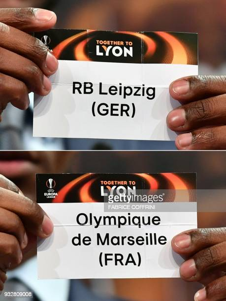This combination of pictures created on March 16 2018 shows French former football player for Barcelona and Lyon Eric Abidal showing the slip of RB...