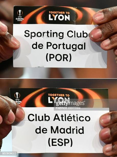 This combination of pictures created on March 16 2018 shows French former football player for Barcelona and Lyon Eric Abidal shows the slip of...