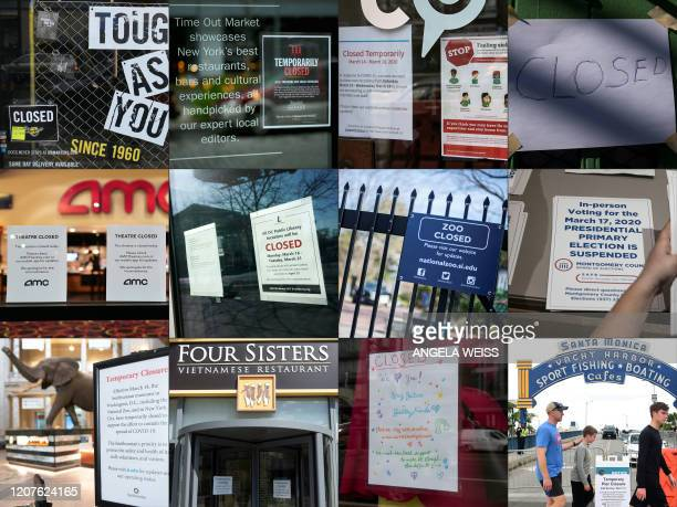 This combination of pictures created on March 18 2020 shows Closed signs due to the coronavirus outbreak at a Dr Martens store on March 17 2020 in...