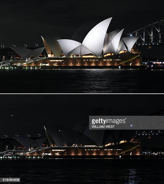This combination of pictures created on March 19 2016 shows Australia's iconic Sydney Opera House and during the Earth Hour campaign as lights are...