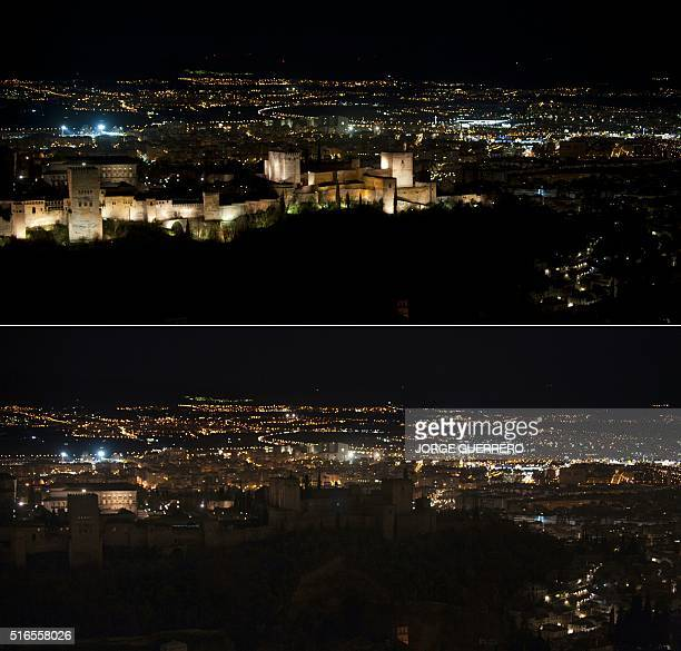 This combination of pictures created on March 19, 2016 shows the Alhambra in Granada with and without lightning as part of the global climate change...