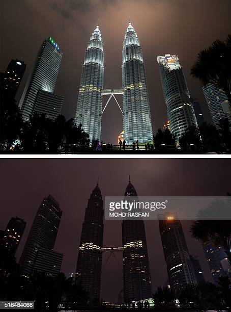 This combination of pictures created on March 19 2016 shows the Petronas towers before and after the lights were switched off during the Earth Hour...