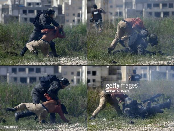 TOPSHOT This combination of pictures created on March 2 2018 shows Israeli border police attempting to arrest a foreign demonstrator during a protest...