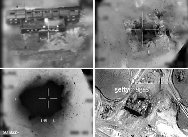 This combination of pictures created on March 20, 2018 of handout images provided by the Israeli army reportedly shows an aerial view of a suspected...