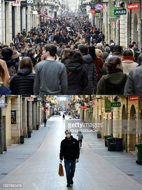 This combination of pictures created on March 21 2020 shows two pictures taken on SainteCatherine street in Bordeaux on March 14 2020 and on March 21...