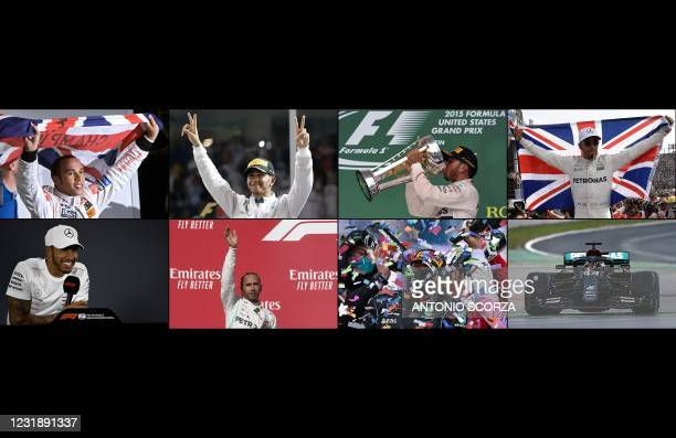 This combination of pictures created on March 23, 2021 shows British Formula One driver Lewis Hamilton celebrating his seven World Championship...