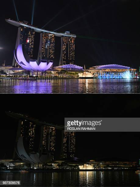TOPSHOT This combination of pictures created on March 24 2018 shows a general view of Marina Bay Sands hotel and resort lit up and with the lights...