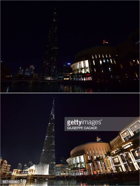 TOPSHOT This combination of pictures created on March 24 2018 shows the Burj Khalifa skyscraper lit up and with the lights turned off during the...