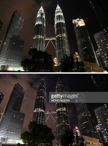 This combination of pictures created on March 24 2018 shows the Petronas towers before and after the lights were switched off during the Earth Hour...