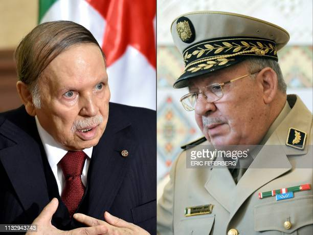 This combination of pictures created on March 26 2019 shows Algerian President Abdelaziz Bouteflika during an official visit to Zeralda a suburb of...