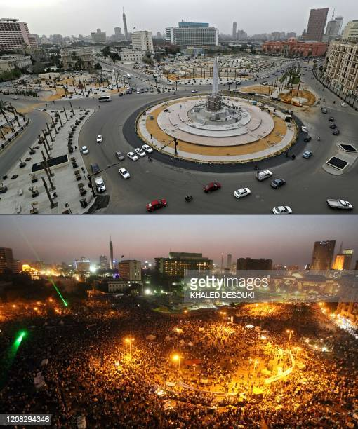 This combination of pictures created on March 26, 2020 shows the Egyptian capital Cairo's Tahrir square with very little traffic on March 25 on the...