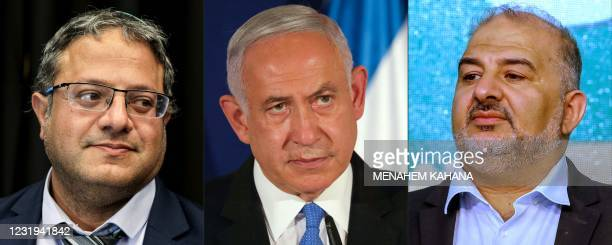 This combination of pictures created on March 26 shows Itamar Ben Gvir, head of the Israeli Jewish Power party party, on March 15 Israeli Prime...