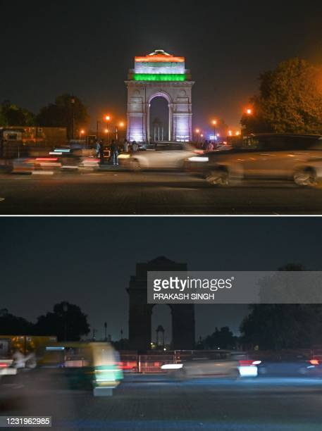 This combination of pictures created on March 27, 2021 shows a general view of the illuminated India Gate war memorial before and after the lights...