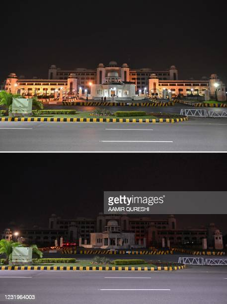 This combination of pictures created on March 27, 2021 shows a general view of the illuminated Pakistan's Prime Minister office building before and...