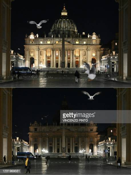 This combination of pictures created on March 27, 2021 shows St. Peter's Basilica in The Vatican on March 27, 2021 before and after the lights were...