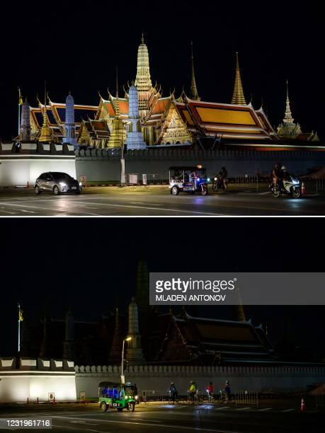 This combination of pictures created on March 27, 2021 shows the Grand Palace in Bangkok before and after its lights were turned off to mark the...