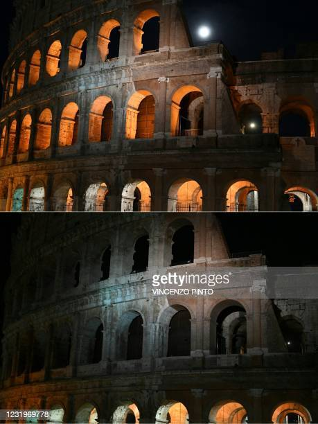 This combination of pictures created on March 27, 2021 shows the Colosseum monument in Rome on March 27, 2021 before and after the lights were turned...