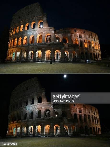 This combination of pictures created on March 27, 2021 shows the Colosseum monument in Rome on March 27, 2021 before and after the lights are turned...