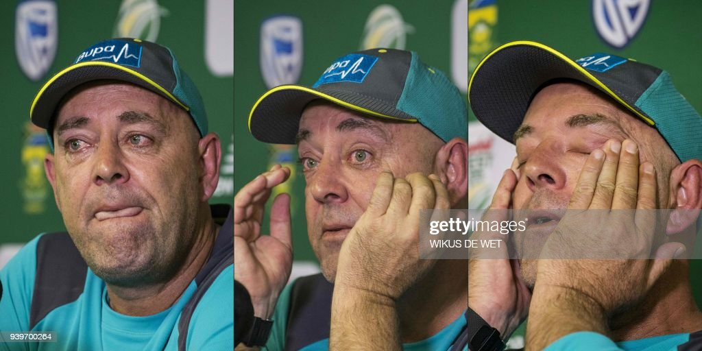 TOPSHOT - (COMBO) This combination of pictures created on March 29, 2018 shows Head Coach of the Australia cricket team Darren Lehmann wiping his eyes and responding to questions during a press conference in Johannesburg on March 29, 2018 at which he announced his resignation after the forthcoming Test match against South Africa. Australia cricket coach Darren Lehmann said on March 29, 2018 he would quit after the final match of the scandal-tainted Test series in South Africa after the team's former captain Steve Smith broke down in tears and accepted complete responsibility for the ball-tampering incident. Australia cricket coach Darren Lehmann said on March 29, 2018 he would quit after the final match of the scandal-tainted Test series in South Africa after the team's former captain Steve Smith broke down in tears and accepted complete responsibility for the ball-tampering incident. Australia cricket coach Darren Lehmann said on March 29, 2018 he would quit after the final match of the scandal-tainted Test series in South Africa after the team's former captain Steve Smith broke down in tears and accepted complete responsibility for the ball-tampering incident. WET
